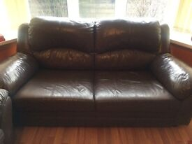 3+2 seater brown leather sofas, GOOD condition