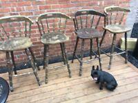 4 Original Pub Bar Stools For Restoration