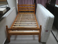 Pine Single Bed frame with Mattress