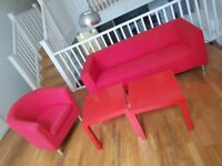 FREE Red sofa and chair in excellent condition