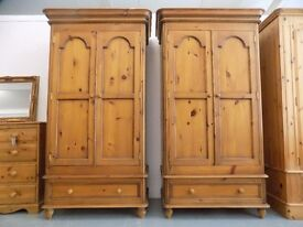 2 x Matching Solid Pine Wardrobe With Drawer
