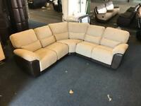 Littlewoods Santori Recliner Corner Sofa 5-6 seater beige fabric and brown leather top quality