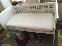 Tuscany 3-in-1 Cotbed in White and waterproof mattress from toys r us