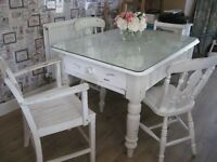 OLD FARMHOUSE TABLE AND CHAIRS