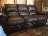 Quality brown 3-seater leather sofa, used but in good condition and very comfortable