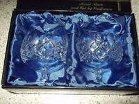 two hand cut lead crystal goblets (as new unused)