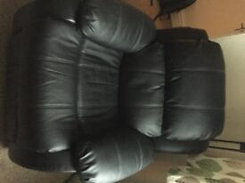 Recliner Sofas - Real leather - Black - 1 Seater & 2 Seater - V.Good Condition - Collection Only!!!