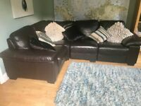 Brown leather corner sofa- used. In good condition.