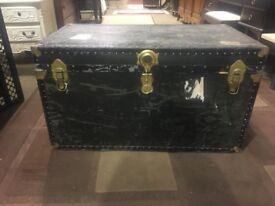 Large Black Antique Vintage Trunk - Travel Trunk - Storage Box