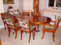 Beautiful Oval expanding table and chair set in Yew finish