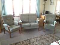 3 Piece Cottage Suite. Sage Green. Made in UK. Excellent Condition. Collect only.