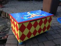 Wooden toy box bright colours with clown detail
