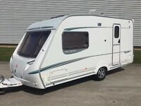 ABBEY 215 GTS VOGUE, 2 BERTH, FULL END WASHROOM, FULL ACCESSORIES, PORCH AWNING, JUST SERVICED,