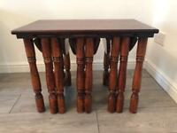 Solid real wood nest of table
