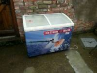 Commercial glass top chest freezer