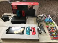 Recently purchased Nintendo Switch + 3 games. (Boxed with receipt)