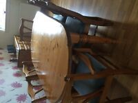 Ducal antique pine table & 6 chairs