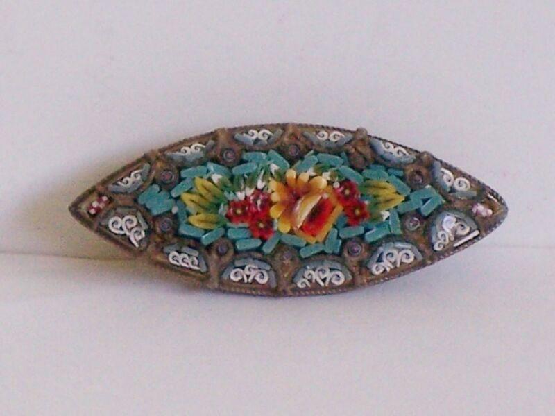 Antique Vintage Micro Mosaic Micro mosaic Floral Brooch Pin