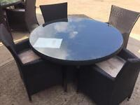 Rattan garden table with 4 chairs