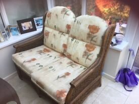 Conservatory cane sofa & armchairs - Excellent condition