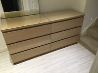 Ikea malm chest of 6 drawers with glass top