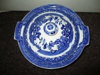 """Alfred Meakin - """"Old Willow"""" - blue and white lidded vegetable tureen and oval meat server/platter"""