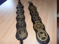 """2 X 19"""" Leather mounted Horse Brasses (10 brasses in all )"""