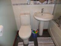 Light Cream Bathroom Suite & Bath Shower Screen