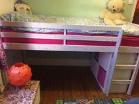 White Wooden Mid Sleeper Child's Bed