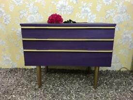 Mid century / retro style chest of drawers aubergine colour Avalon Furniture