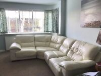 Corner Sofa with storage footstool, Cream Leather in good condition.