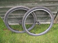 Pair Of Rolf Satellite 26 Inch Mountain Bike Wheels With Tyres