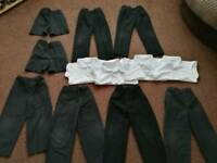 Bundle of boys school clothes Age 5 grey trousers and shorts (and white polo shirts)