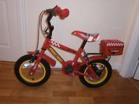 Boys Apollo Firechief bike from Halfords (Fireman Sam) 12 inch age 3-6 years.