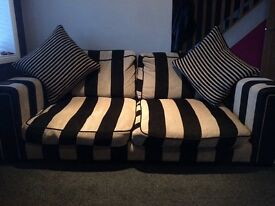 DFS black and cream stripe settees