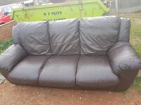 2+3 brown leather sofas