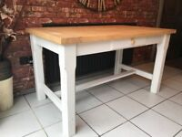 Solid Oak Country Style Dining Table Side Drawer