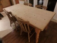 Traditional Pine Kitchen Table and Chairs