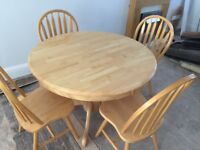 Solid Pine Table & 4 Chairs. Excellent Condition