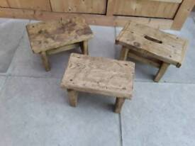 3 X LOVELY RECLAIMED WOOD STOOLS SOLID AND CHUNKY WAXED HOP UP CHILD'S STOOL COUNTRY CHIC