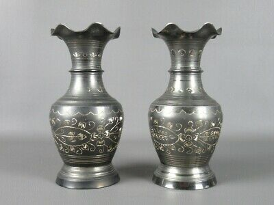 2 Vintage Vases Decorative IN Metal Engraved Manufacture Indiana Of Xx Century