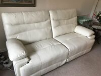 White leather powered recliner sofa