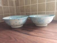 Two Blue and White Flower Blossom Round Ceramic Serving Bowls