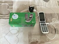 DORO mobile phone. Large display with adjustable text. Locked to TESCO. Excellent condition.