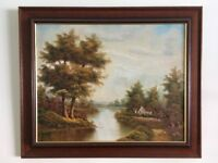 Beautiful Oil Painting with elegant dark oak frame depicting waterside cottage in autumn woodland