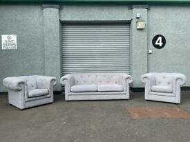 Beautiful grey Chesterfield sofas 3/1/1 sofas delivery sofa suite couch furniture