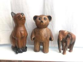 Carved wooden ornaments,x 3