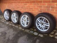 """4 x as new Michelin Alpin Winter 16"""" tyres mounted on recently refurbished Renault alloy wheels"""