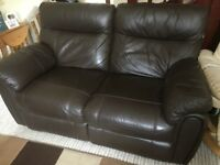 Leather reclining sofa and chair.