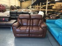 Ex-display DFS Supreme expresso leather electric recliner 2 seater sofa